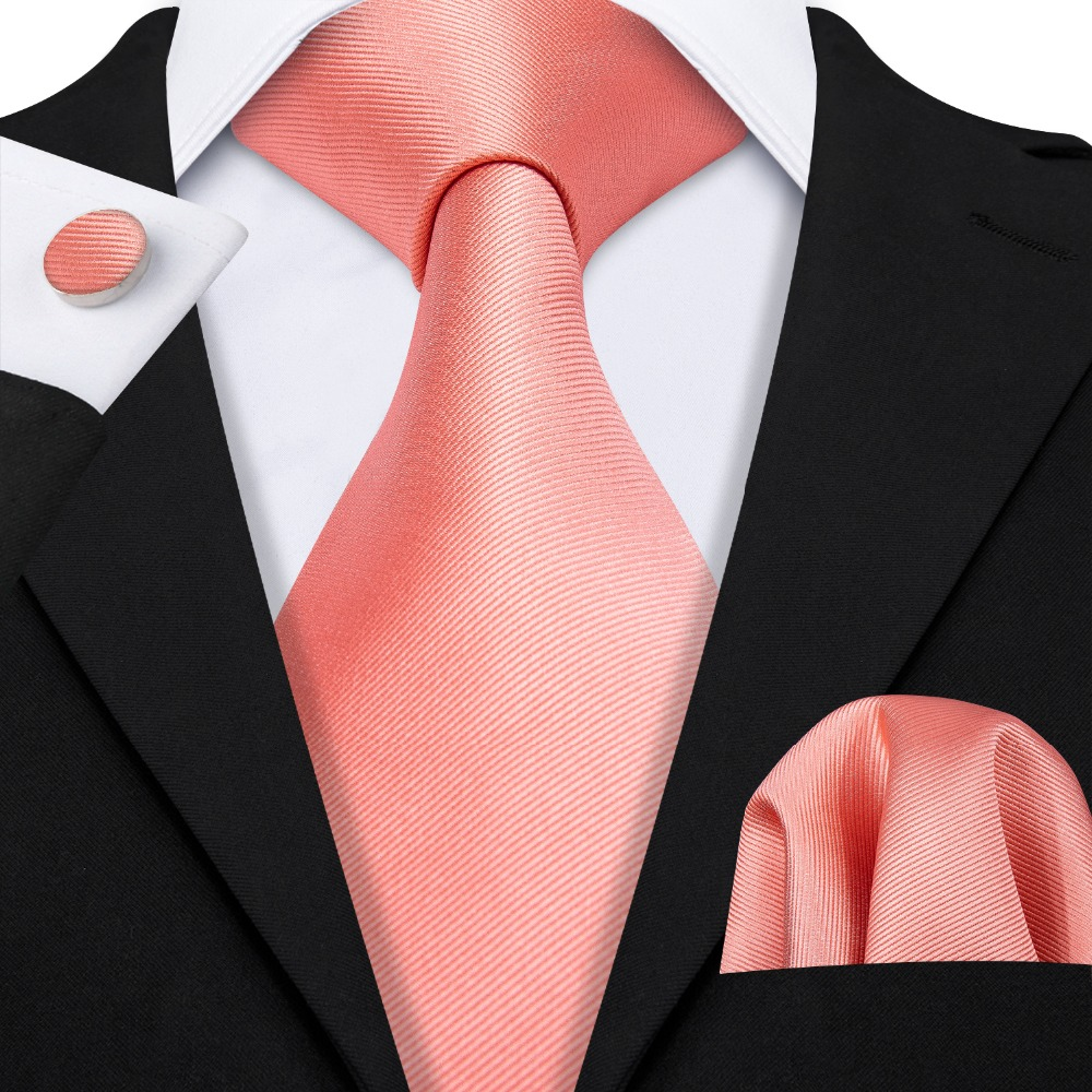 2019 Barry.Wang Wedding Tie Peach Solid 100% Silk Ties Gifts For Men Wedding Party Business Luxury Brand Neckties Sets LS-5107