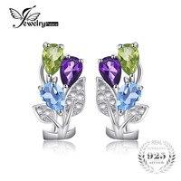 JewelryPalace Fiore Multicolore 2.5ct Genuine Amethyst Peridot Topazio Blu Clip Su Orecchini Genuine 925 Sterling Silver Jewelry