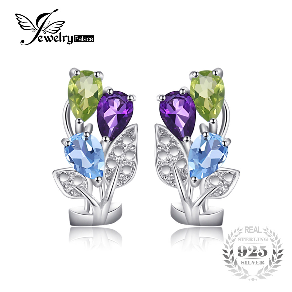 JewelryPalace Flower Multicolor 2 5ct Genuine Amethyst Peridot Blue Topaz Clip On Earrings Genuine 925 Sterling