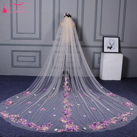 Champagne Romantic Wedding Veil Floral Lace 2018 Bohemian Fairy Cathedral Veils one Layer embroidery Bridal Accessories ZV007