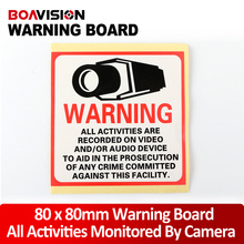 20Pcs Waterproof Sunscreen PVC Decal Sticker Warning Board Monitored By Video Camera 80*80MM CCTV Security Camera Decal Signs