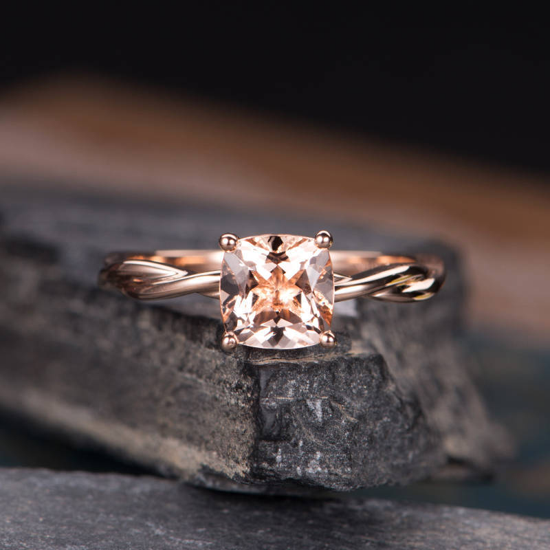Huitan Halo Champagne CZ Ring For Lady With Twist Band Fashion Rose Gold Color Wedding Romantic Geometric Accessory