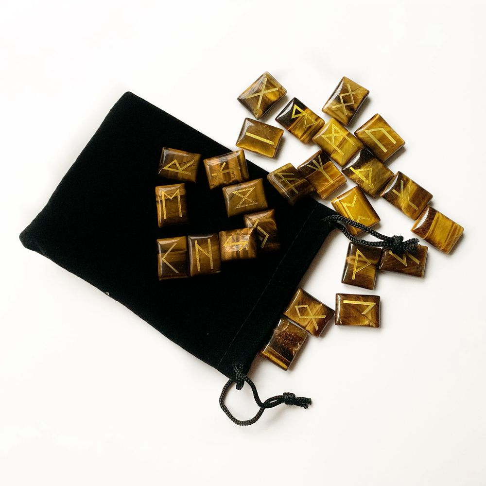 25pcs Natural Tiger Eye Stone Runes Viking Symbols Stones Set Carved Reiki Healing Crystals Fortune Telling Divination Stones in Figurines Miniatures from Home Garden