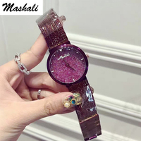Mashali Brand Luxury Fashion Crystal Women Bracelet Watch Female Diamond Dress Quartz Watch Ladies Rhinestone Wristwatches