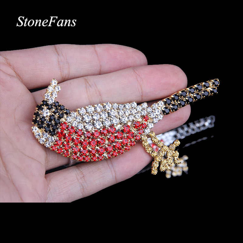 StoneFans Wedding Rhinestone Animal Brooch Large Jewelry Cartoon Black Red Crystal Bird Brooch Pin Women Vintage Christmas Gifts