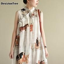 Китайское женское длинное платье Ципао без рукавов льняное китайское традиционное платье длинное платье Ципао праздничная одежда