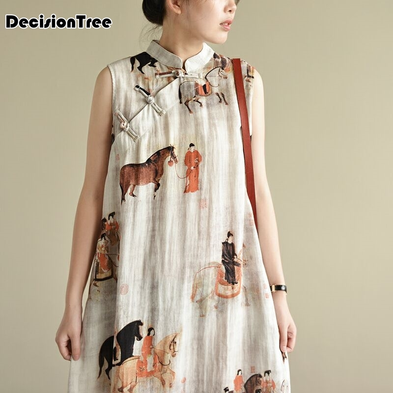 2019 Sleeveless Chinese Women Long Cheongsam Dress Linen Qipao Chinese Traditional Dress Long Dress Qipao  Party Wear