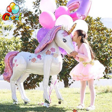 1pcs 46 inch Large Magical Unicorn Airwalker Foil Balloon 3D Air Helium stand Balloon Wedding Birthday Party decoration kids toy