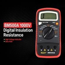 BM500A цифровой Мегаомметр 1000V Авто Диапазон изоляции Измеритель сопротивления, Омметр Мегаомметр мультиметр вольтметр светодиодный индикатор