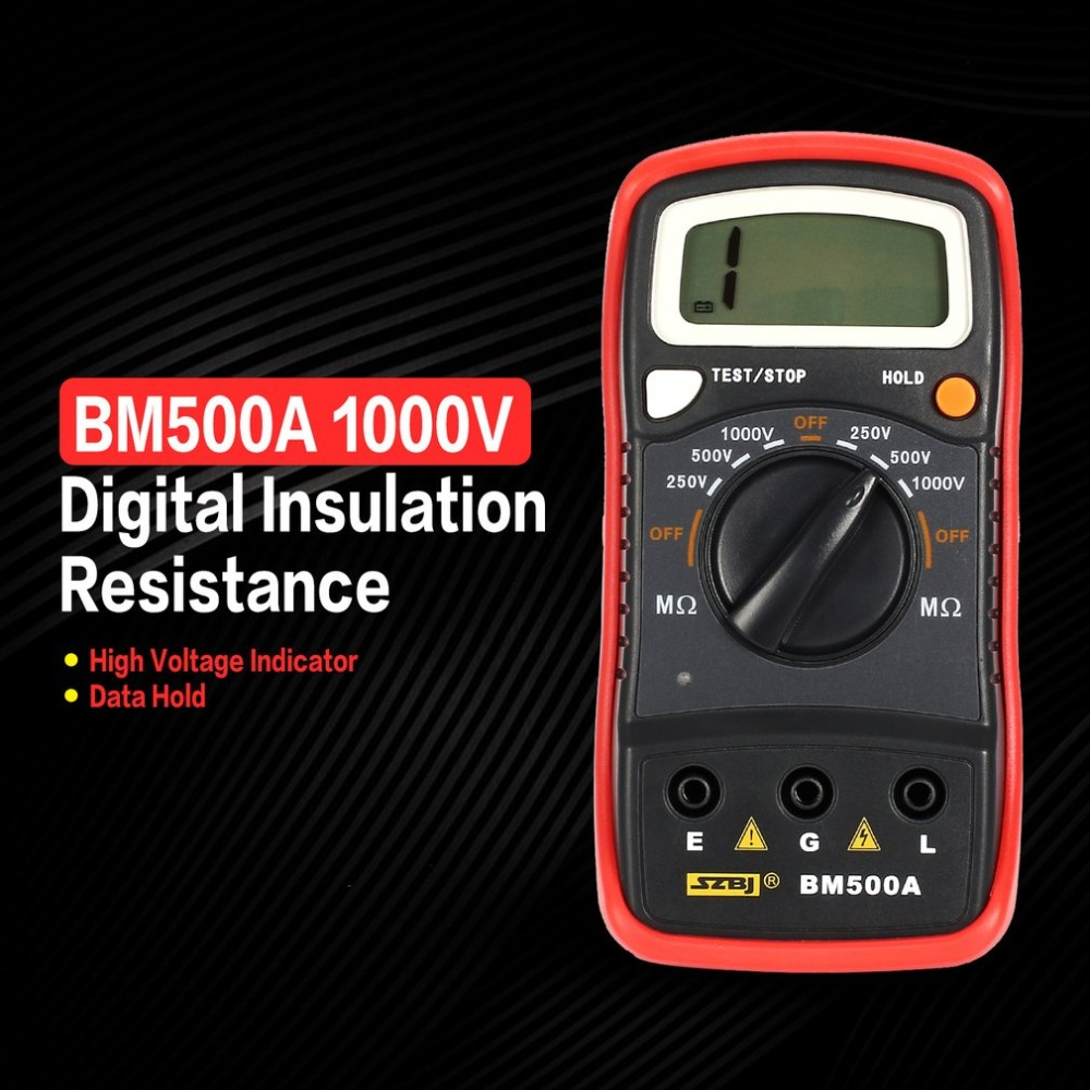 BM500A Digital Megger 1000V Auto Range Insulation Resistance Ohm Meter Tester Megohmmeter Multimeter Voltmeter LED Indication