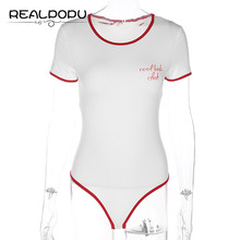 White Bodysuit Casual Letter Printed O Neck Patchwork Short Sleeve Panelled Bodycon Jumpsuit Elegant Summer Body Femme