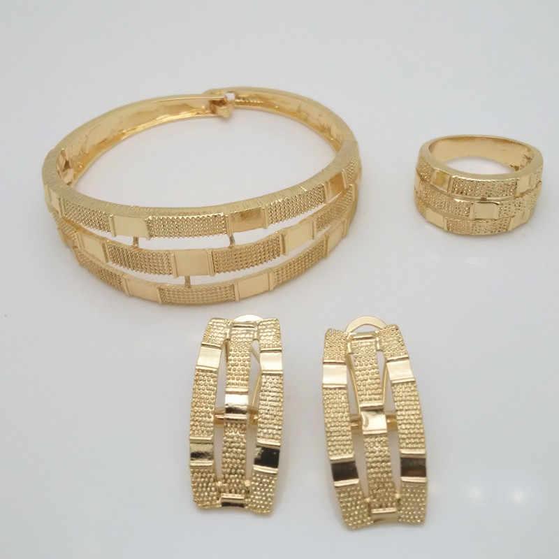 Königreich Ma Afrikanischen Nigerian Hochzeit Braut Big Schmuck Sets Dubai Gold Farbe Kristall Halskette Armband Ohrringe Ring Set