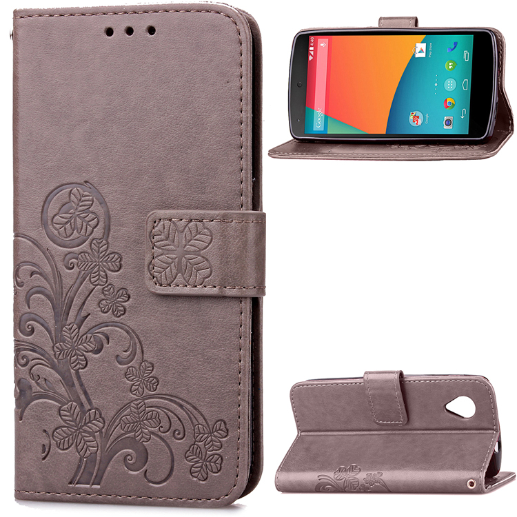 3D Lucky Clover PU Leather Case For LG Google Nexus 5 Nexus5 E980 D820 / Google 6P Flip Wallet Stand Cover Phone Cases