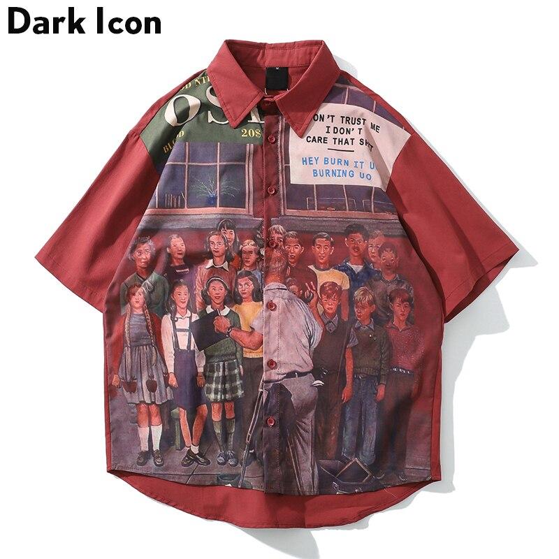 Dark Icon Printing Vintage Hip Hop Shirt Men 2019 Street Shirts Men Loose Style Summer Shirts For Men Streetwear Clothing