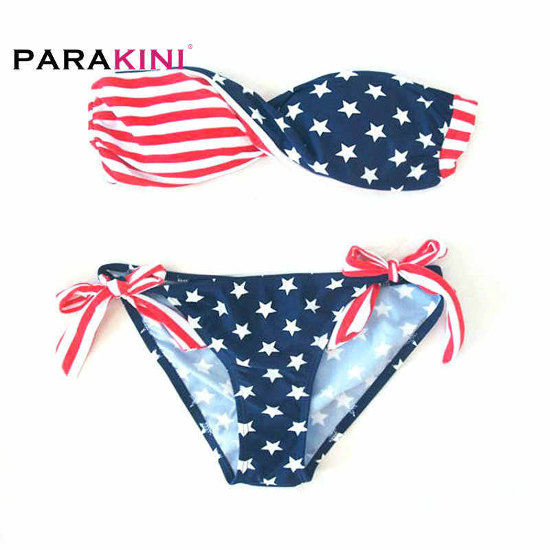 73d154bbf1b PARAKINI 2018 New USA American Flag Print Swimwear Biquinis Women Sexy  Swimsuit Bikinis Set Trikini Beach