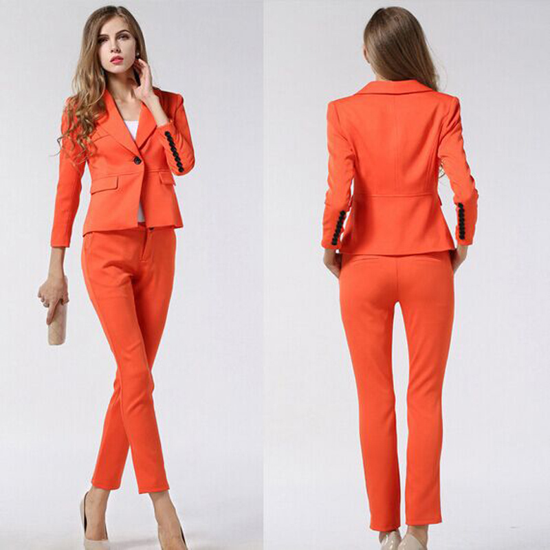 Womens Suits Blazer With Pants New 2015 Winter Formal Office Uniform ...