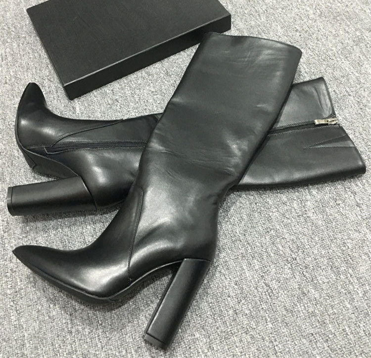 Шикарные женские сапоги из коровьей кожи с острым носком; коллекция года; сезон осень-зима; высокие сапоги из натуральной кожи на высоком каблуке; модные сапоги до колена; EU35-40; BY582 - Цвет: Черный