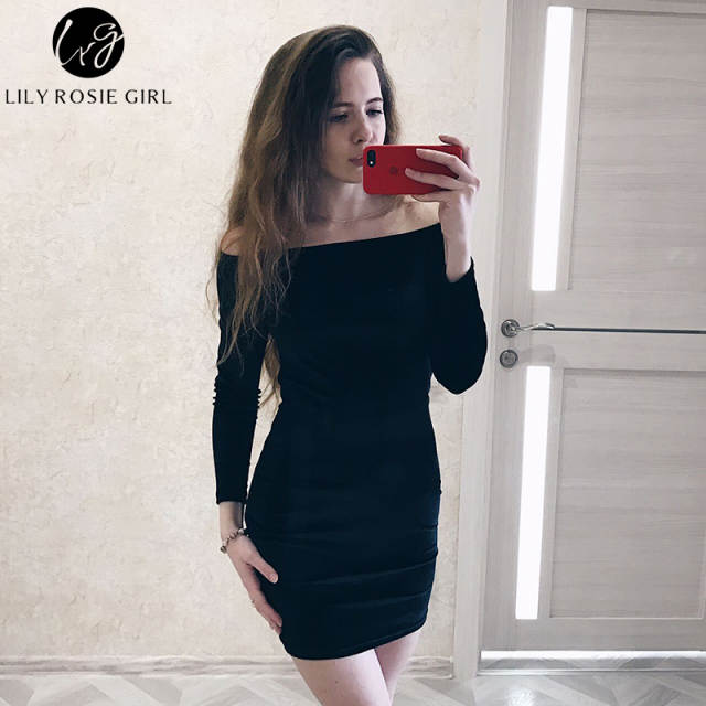 e5b425c7baa Online Shop Sexy Off Shoulder Wine Red Velvet Winter Party Dress Women Long  Sleeve 2018 Elegant Pencil Bodycon Feminino Dress Vestidos
