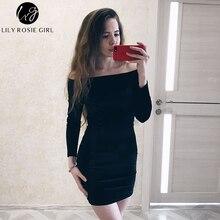 Sexy Off Shoulder Wine Red Velvet Winter Party Dress Women Long Sleeve 2019 Elegant Pencil Bodycon