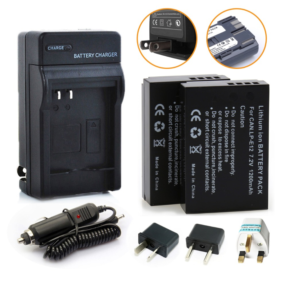 2Pcs 7.2V 1200mAh LP-E12 LP E12 Rechargeble Camera batteries + Charger Kit for Canon EOS M M2 100D EOSM EOSM2 EOS100D