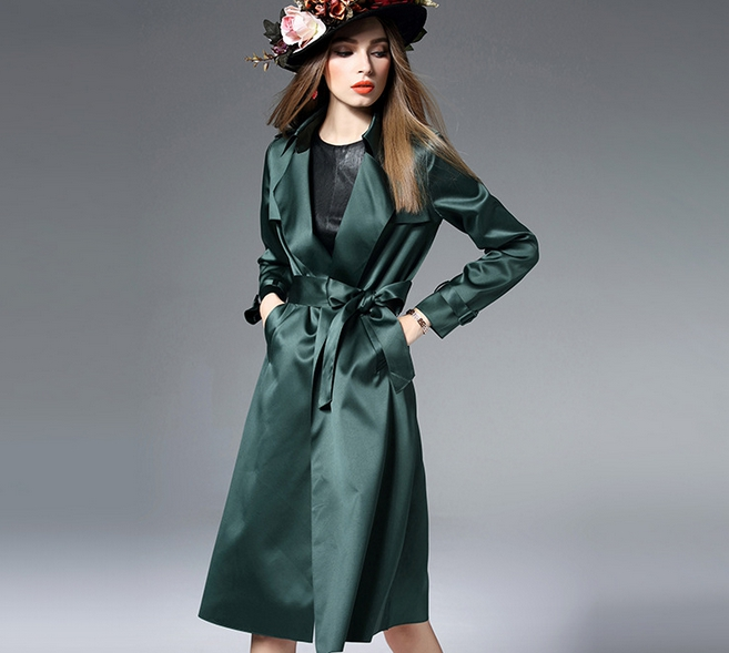2017 High Quality Spring Autumn Fall Vintage Retro Long Trench Coat Plus Size Xl Women Lady Dark Green Black D085