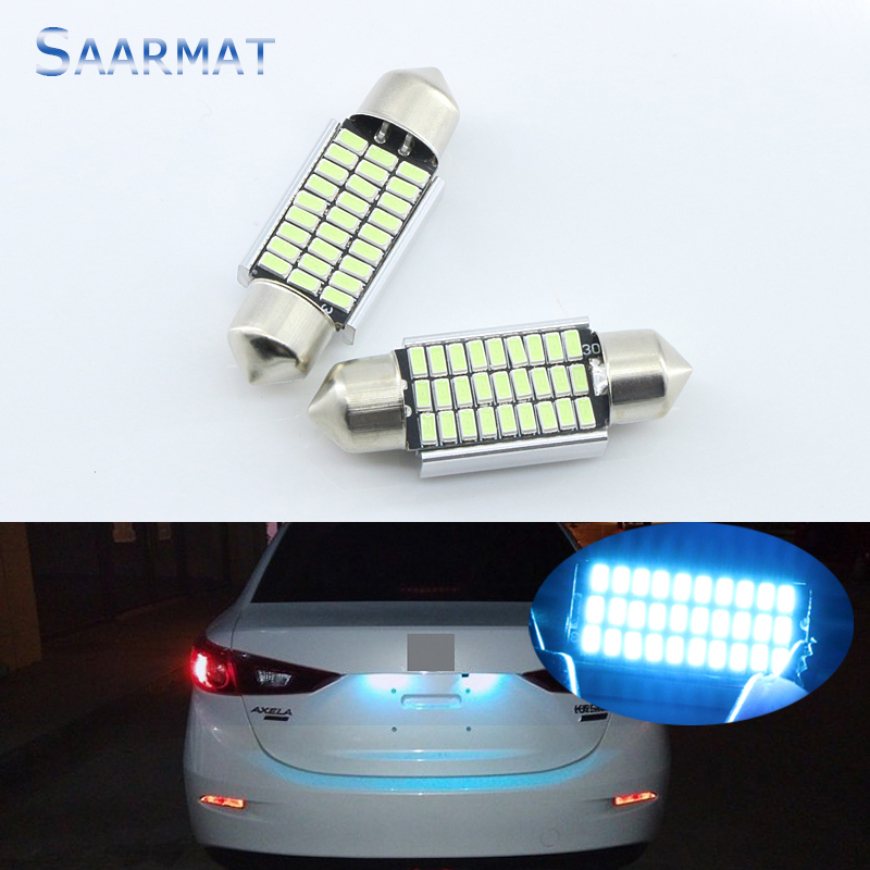 2X C5W Crystal Ice Blue 36mm LED Bulbs 27-SMD For  License Plate Light for BMW E39 E60 E61 E38 E46 E65