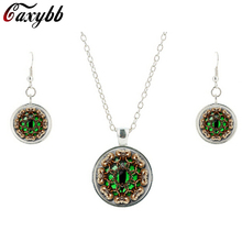 Fashion Animals necklace earring Cover Green Cat's Eye Clock Watch Necklaces Steampunk Pendant Wholesale Jewelry sets