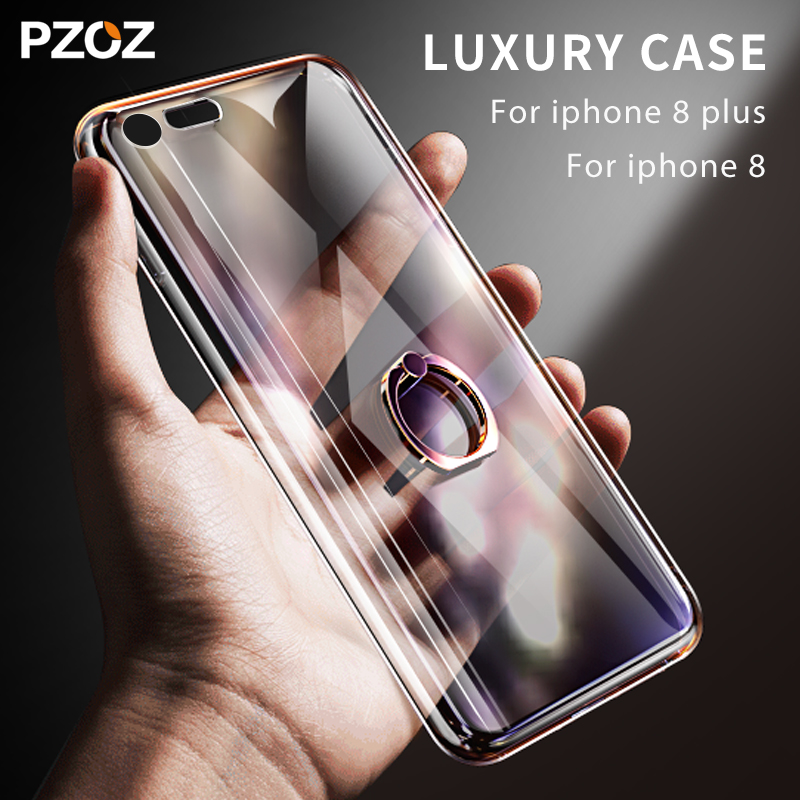 pzoz for iphone 8 case cover transparent Silicone with ring holder iphone8 8plus for iphone 8 plus case luxury finger ring stand