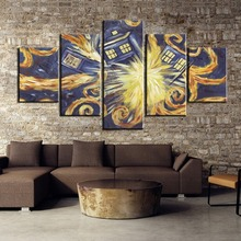 5 Pieces HD Print Painting Doctor Who Van Gogh Painting Canvas Wall Art Picture Home Decoration Living Room Canvas Painting