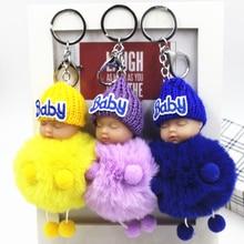 NEW Hot Sell Pom Pom Sleeping Baby Keychain Lovely Keychain Animal Bird Fluffy Artificial Rabbit Fur Ball Women Car Bag Key Ring