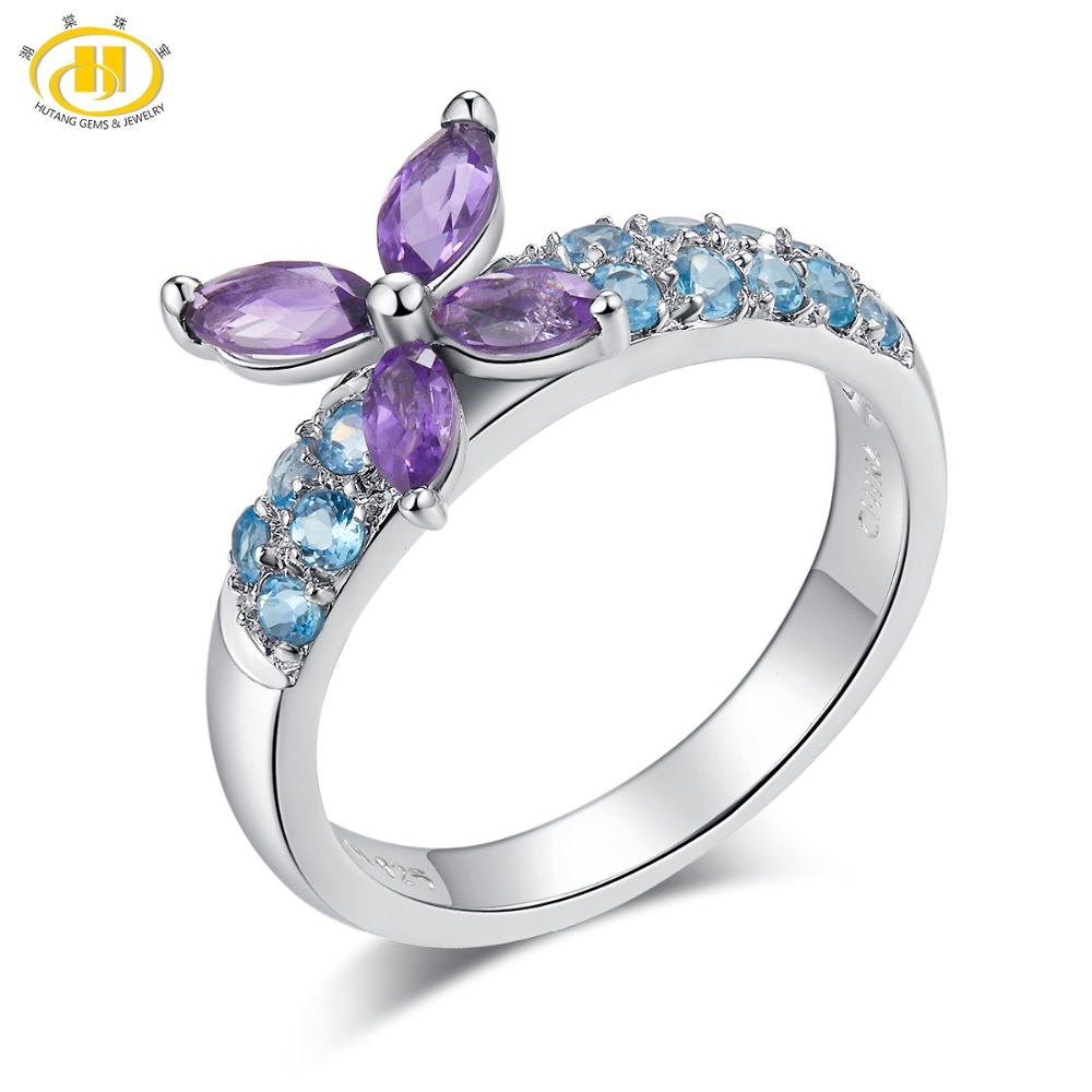 Hutang Amethyst Wedding Ring Natural Gemstone Sky Blue Topaz Solid 925 Sterling Silver Fine Fashion Butterfly Aimal Jewelry GiftHutang Amethyst Wedding Ring Natural Gemstone Sky Blue Topaz Solid 925 Sterling Silver Fine Fashion Butterfly Aimal Jewelry Gift
