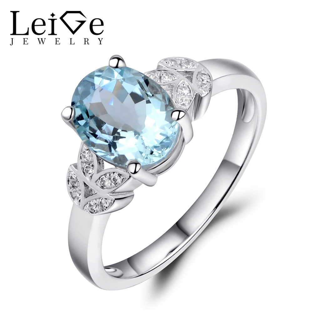Leige Jewelry 925 Silver Wedding Rings for Women Aquamarine Ring Natural Gemstone Fine Jewelry Prong Setting Oval Cut