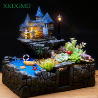 Pastoral Courtyard Illuminated Resin Sky Gardens Flower Pot Micro Landscape Succulents Plants Potted Office Desktop Ornaments