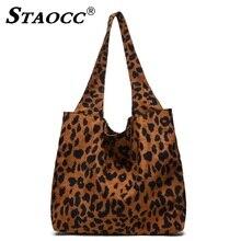 цены STAOCC Corduroy Leopard Handbag Women Shoulder Bag Female Large Tote Bag Casual Lady Bucket Bags Shopping Beach Bags Sac A Main