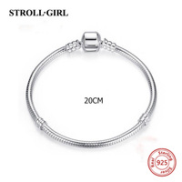 Strollgirl 20cm Snake Chain Real 925 Sterling Silver Original Charms Bracelet Luxury Fashion Diy Jewelry Making