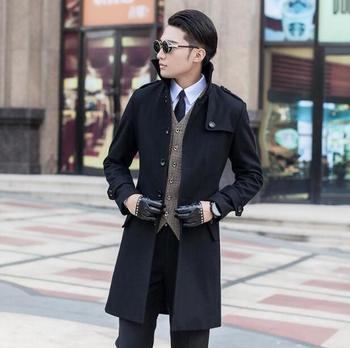 Grey black blue long sleeve Medium-long wool coat men jackets and coats mens slim wool winter single breasted trench coats S 9XL