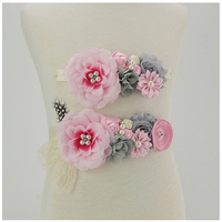 2pcs 1set Maternity Sash Belt With Lace Feather Matching Fabric Peony Flower Headband Girl Baby Accessories