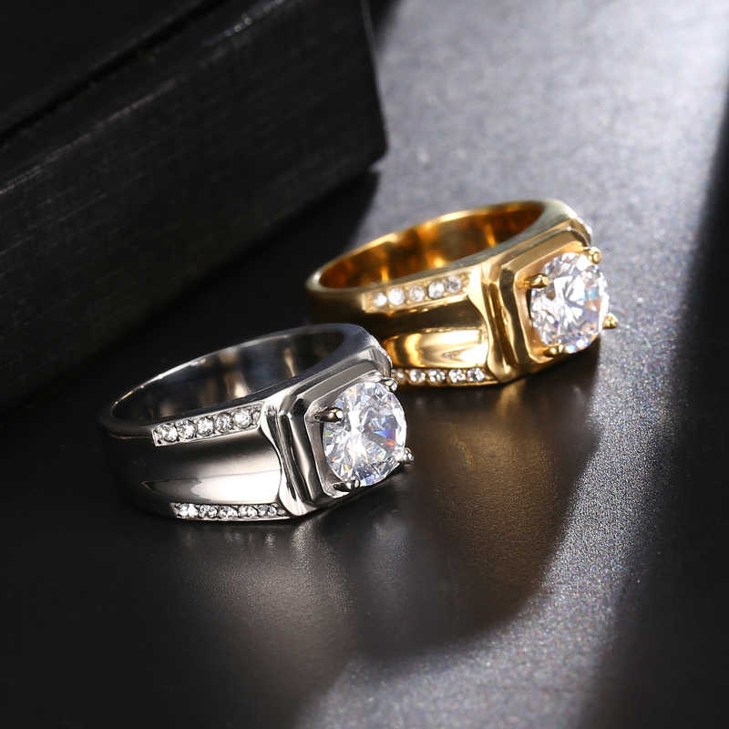HIP Hop AAA + CZ Stone Iced Out Bling Cubic Zirconia แหวน IP Gold Filled แหวนไทเทเนียมสแตนเลสสำหรับผู้ชายเครื่องประดับ Dropship