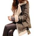 Últimas Mulheres Da Moda Casaco de Inverno de Couro lã Grossa Super Quente casaco Fino Lazer Grandes estaleiros Cordeiros lã Casaco longo Médio D36