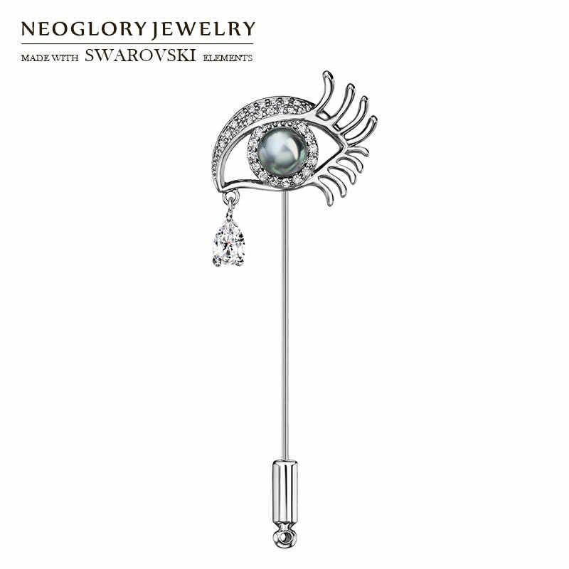 Neoglory zircon & simulado pérola broche pinos agulha olho cinza em forma de atacado para senhora clássico festa presente primavera