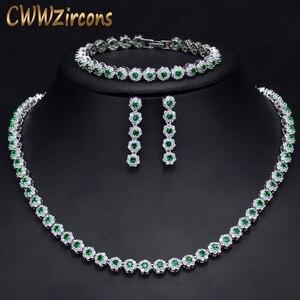 Image 1 - CWWZircons 3 個 Cz グリーンクリスタルブレスレットのネックレスとイヤリングセット高級女性ウェディングアクセサリー花嫁ジュエリーセット T030