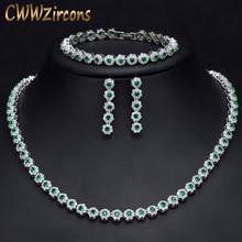 CWWZircons 3 Pcs CZ Bracelete de Cristal Verde Conjuntos de Colar e Brincos de Luxo Acessórios de Noiva Conjunto de Jóias de Casamento Das Mulheres T030