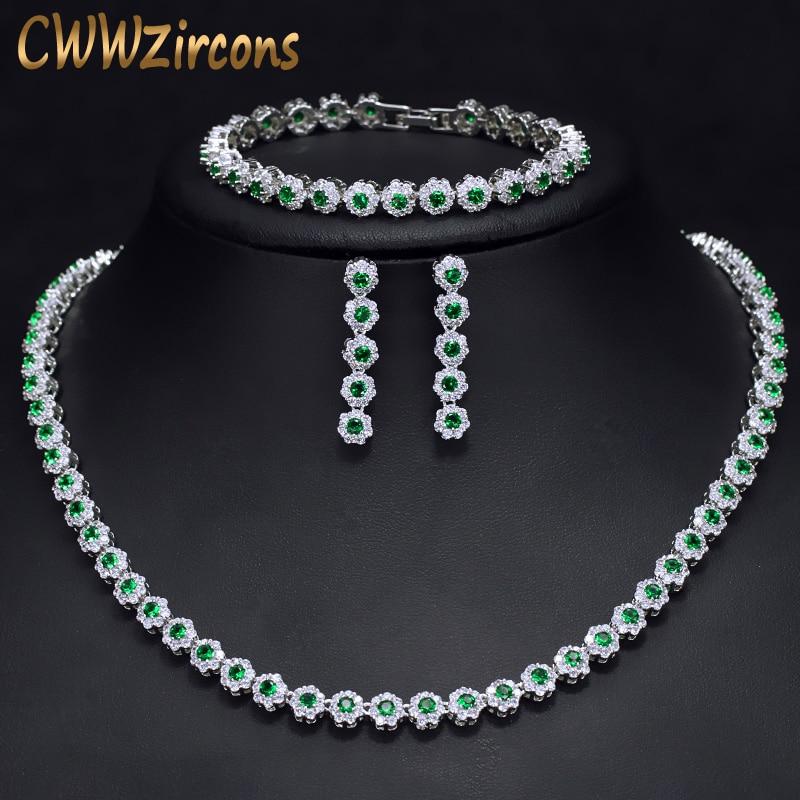 CWWZircons 3 Pcs CZ Green Crystal Bracelet Necklace And Earrings Sets Luxury Women Wedding Accessories Bride Jewelry Set T030 100 pcs ld 3361ag 3 digit 0 36 green 7 segment led display common cathode