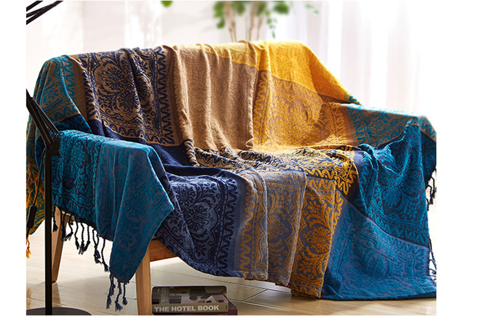 Sofa Blanket Chenille Blue Bright Yellow Bohemia Blanket For Sofa Living  Room Bedroom Rug Soft Carpet Mat Bedspread Table Cloth