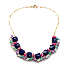 8 Pack EAS Colorful Geometric Resin Charm Statement Necklace Jewelry