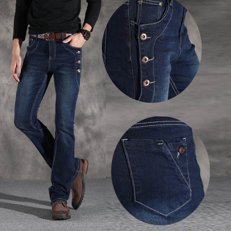 Image 4 - ICPANS Boot Cut Flared Jeans Men Vintage Stretch Regular Fit  Jeans Male Casual Mens BootCut Jeans Men Trousers 2019 Fashion  BlueJeans