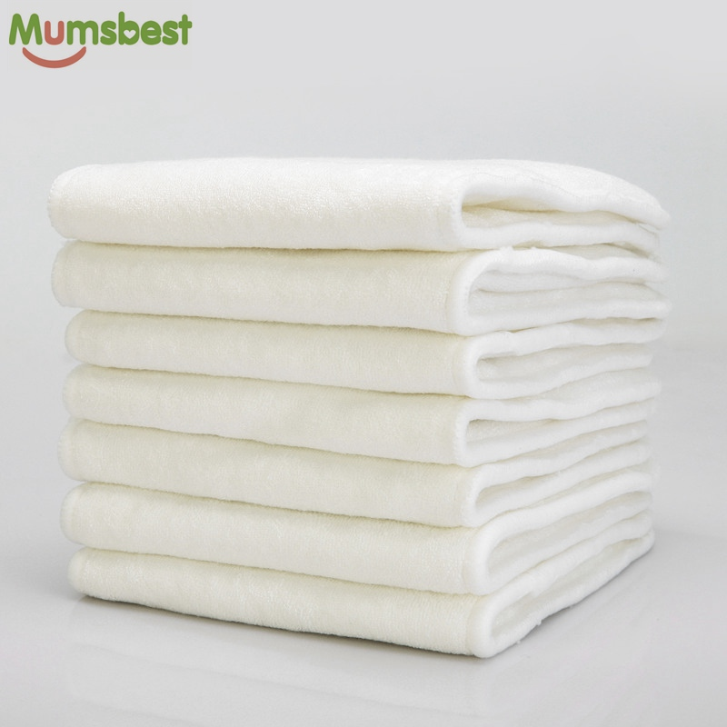 [Mumsbest]10Pcs 4 Layers Bamboo & Microfibre Inserts For Baby Cloth Diaper Cover Reusable Washable Liners For Pocket Cloth Nappy (10pc 2jia2 bamboo)