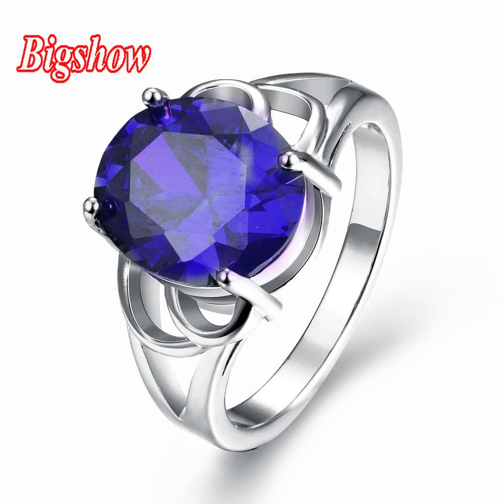 24k yellow gold rose gold platinum plated jewelry sapphire cubic stone rings R292-C-8