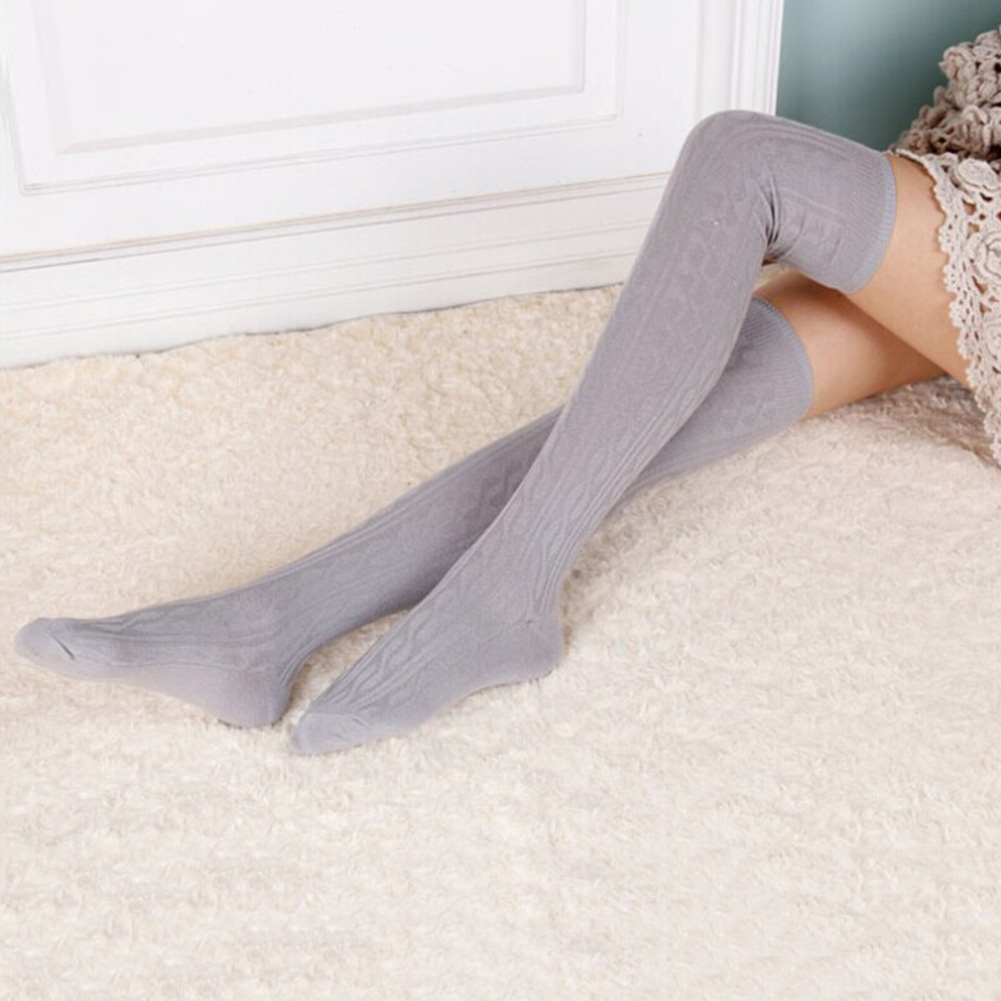 Woman Wool Braid Over Knee Socks Thigh Highs Hose Stockings Twist Warm Winter ...