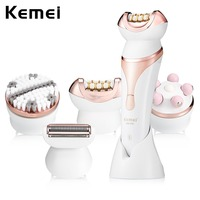 Kemei 4 In 1 Lady Rechargeable Shaver Electric Epilator Shaving Machine Multifunction Hair Remover Women Depilation Massager Set